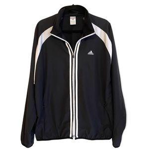Adidas Black White 3 Stripe Warm-up Jacket Large